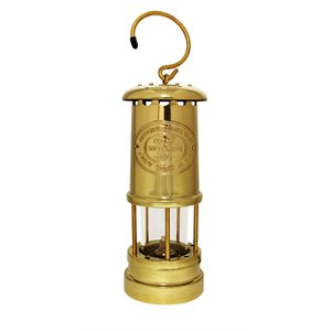 miners lamp, brass 8""
