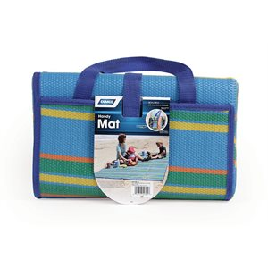 "handy mat w / strap, blue / green stripes, 60""x78"", bilingual"