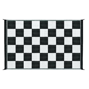 outdoor mat - 6' x 9' checkered, black / white
