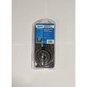 "Double braided nylon dock line 3 / 8"" x 15' grey / black"