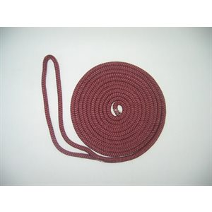 "double braided nylon dock line 3 / 8"" x 15' burgundy"