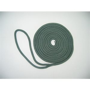 "double braided nylon dock line 3 / 8"" x 20'  forest green"
