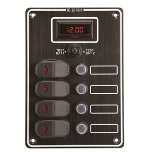 4 gang waterproof panel with digital voltmeter