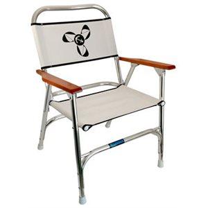 folding alum. deck chair / wht