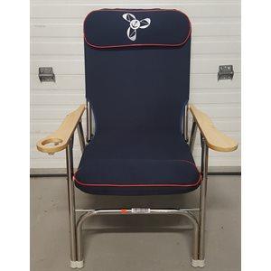 Chaise pliante de luxe en INOX. Bleu marin