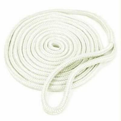 "double braided nylon dock line 3 / 8"" x 15' white"