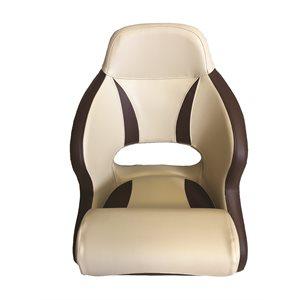 DELUXE BEIGE & BROWN FLIP UP BOLSTER STYLE BUCKET SEAT