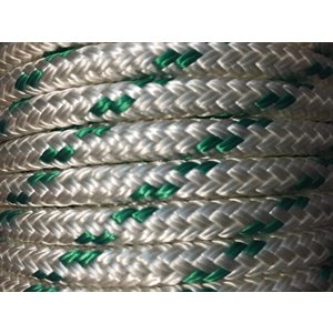 "double braided polyester rope 5 / 16"" with green trace"