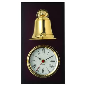 clock & ship bell on wood