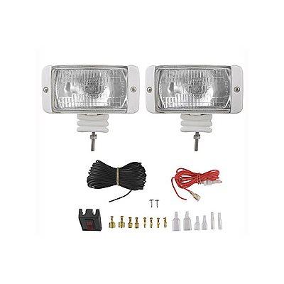 phares d'accostage - 55 watt - interrupteur lumineux et câblage avec fusible de sécurité - boîtier blanc