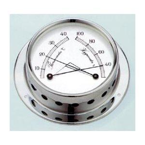 """thermomètre / hygromètre """"tempo"""" chromée, cadran 86mm"""