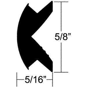 RUB RAIL 5 / 8'' X 5 / 16'' x 50' FLEXIBLE VINYL INSERT