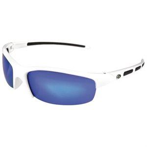 """lunette de soleil """"snook"""" à monture blanche, verre bleu effet miroir"""