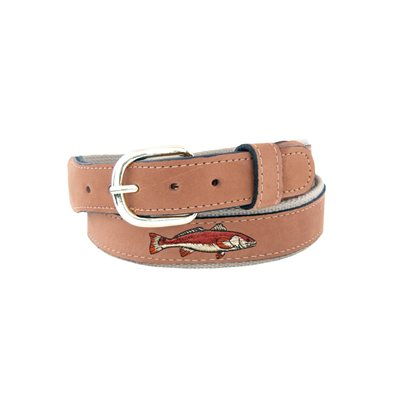 leather embroidered lures belt buff - 42